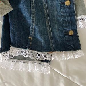 Lucky brand jean jacket with lace trim